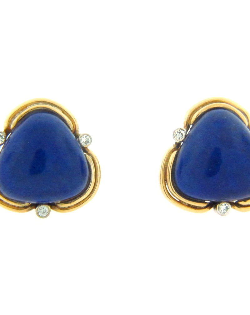 18K Yellow Gold Lapis Lazuli and Diamond Earrings | 18 Karat Appraisers | Beverly Hills, CA | Fine Jewelry