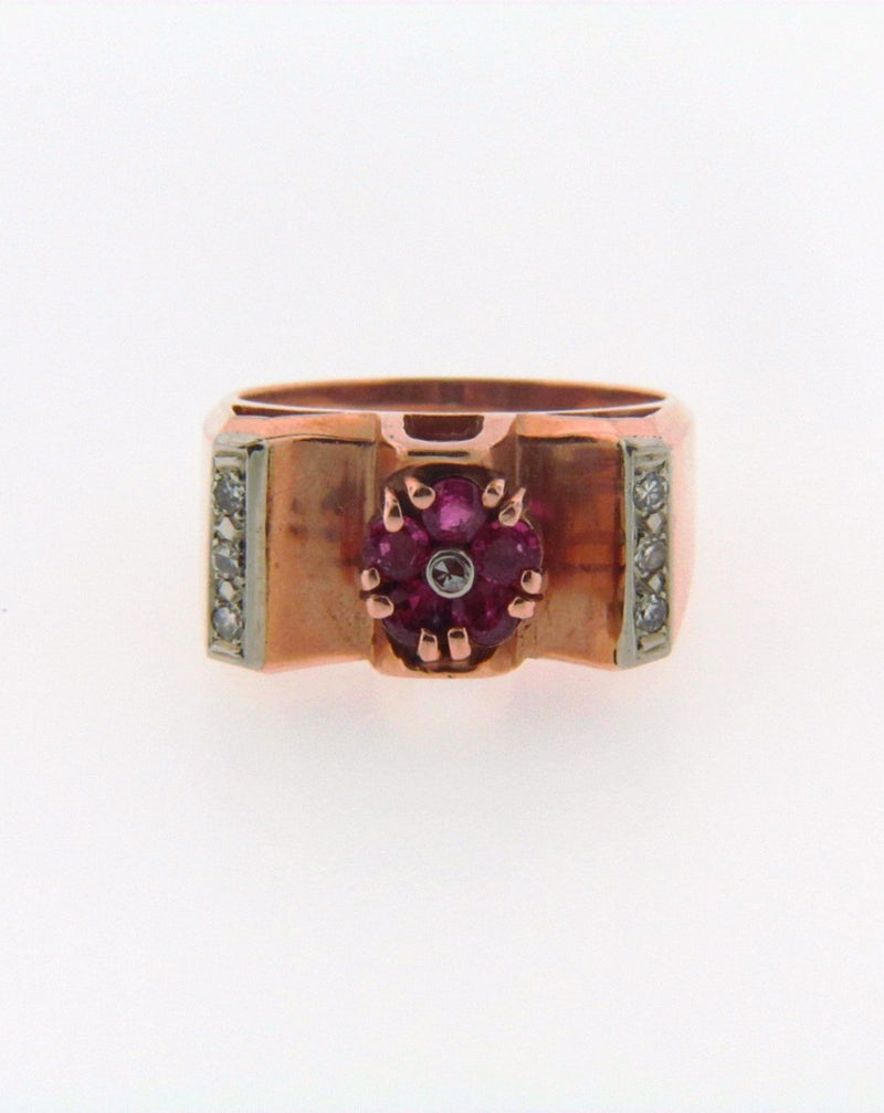14K Rose Gold Ruby and Diamond Ring | 18 Karat Appraisers | Beverly Hills, CA | Fine Jewelry