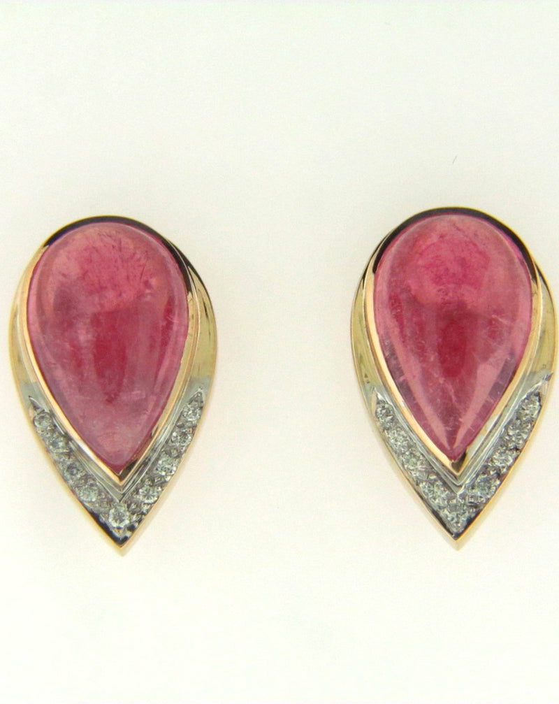 14K yellow gold Pink Tourmaline and Diamond Earrings | 18 Karat Appraisers | Beverly Hills, CA | Fine Jewelry