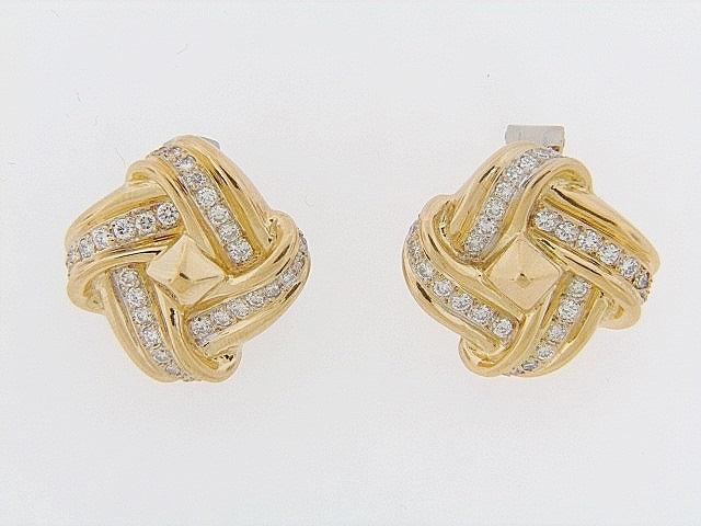 18K-YG DIAMOND KNOT EARCLIPS