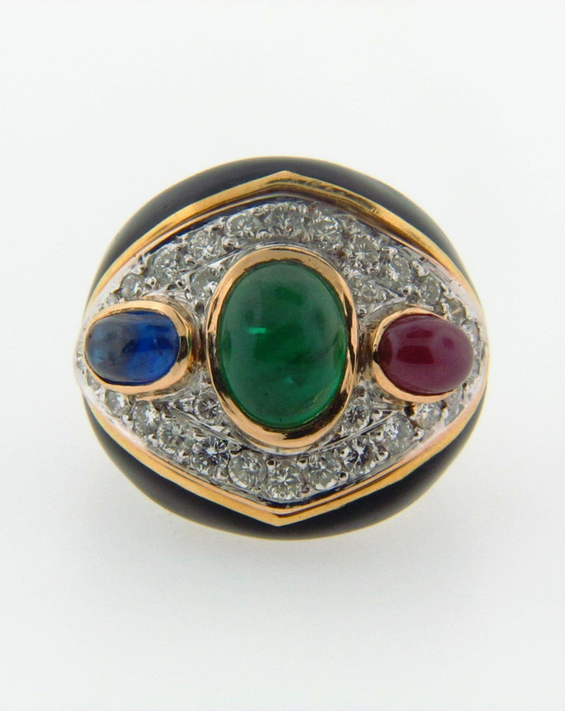 18K Yellow Gold Diamond and Gemstone Ring | 18 Karat Appraisers | Beverly Hills, CA | Fine Jewelry