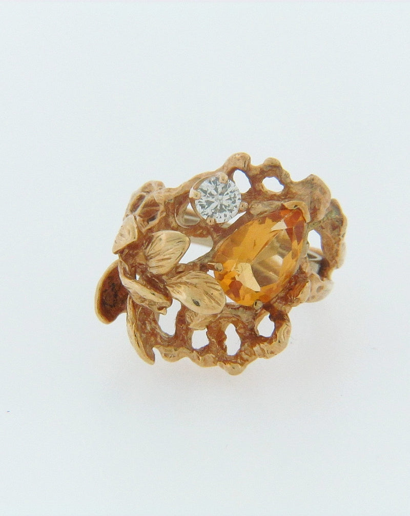 14K-YG CITRINE AND DIAMOND RING | 18 Karat Appraisers | Beverly Hills, CA | Fine Jewelry