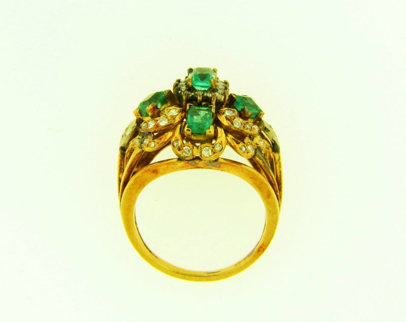 Victorian style 18K Yellow Gold, Emerald and Diamond Ring | 18 Karat Appraisers | Beverly Hills, CA | Fine Jewelry