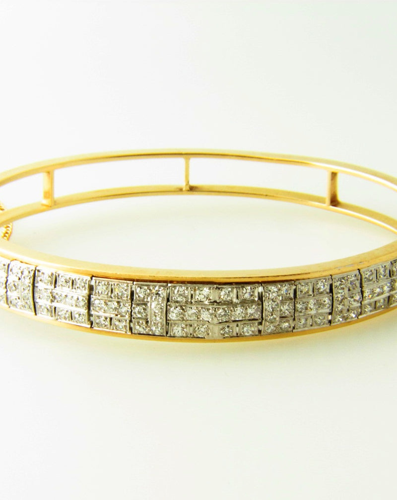 Retro 14K Yellow Gold and Platinum Topped, Diamond Bangle Bracelet | 18 Karat Appraisers | Beverly Hills, CA | Fine Jewelry