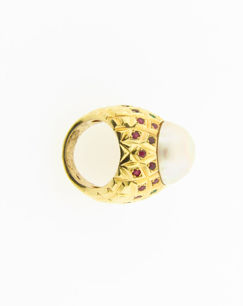 Retro 14K Yellow and Rose Gold, Mabe Pearl Ring | 18 Karat Appraisers | Beverly Hills, CA | Fine Jewelry