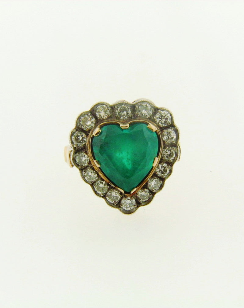 14K Yellow and White Gold, Emerald and Diamond Ring | 18 Karat Appraisers | Beverly Hills, CA | Fine Jewelry
