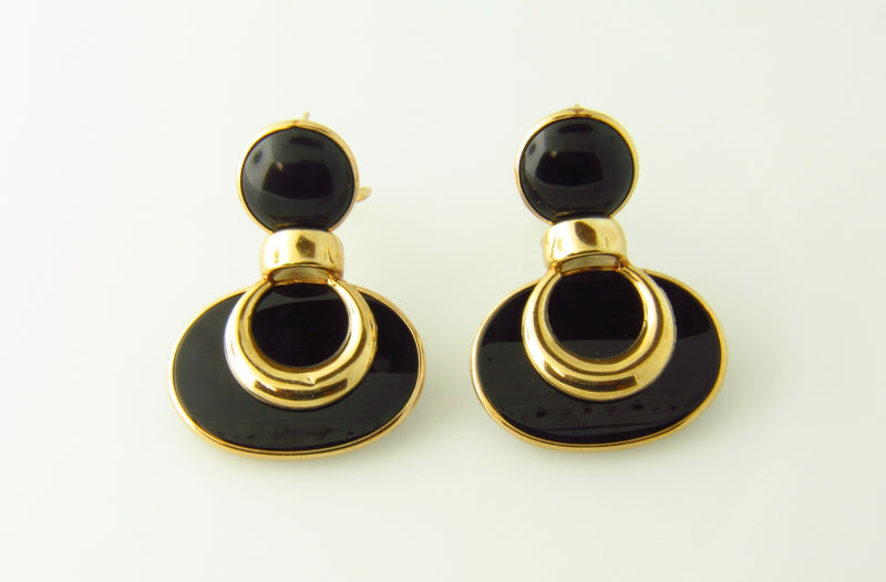 14K Yellow Gold, Onyx Dangling Earrings | 18 Karat Appraisers | Beverly Hills, CA | Fine Jewelry