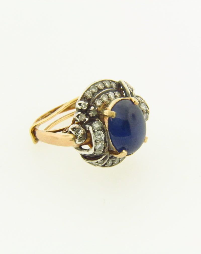 Victorian 14K Yellow Gold, Star Sapphire and Diamond Ring | 18 Karat Appraisers | Beverly Hills, CA | Fine Jewelry