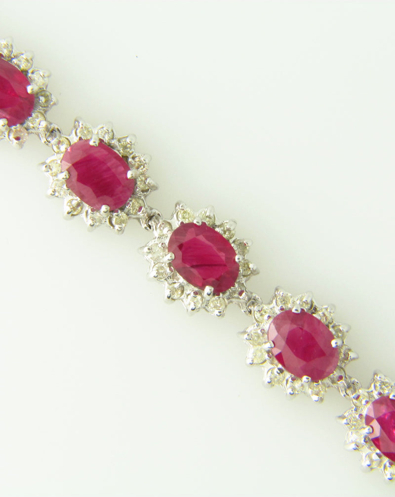 14K White Gold, Ruby and Diamond Bracelet | 18 Karat Appraisers | Beverly Hills, CA | Fine Jewelry