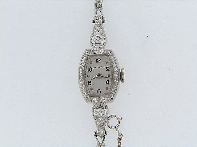 "14K-WG DIAMOND WRISTWATCH BY ""HAMILTON"""
