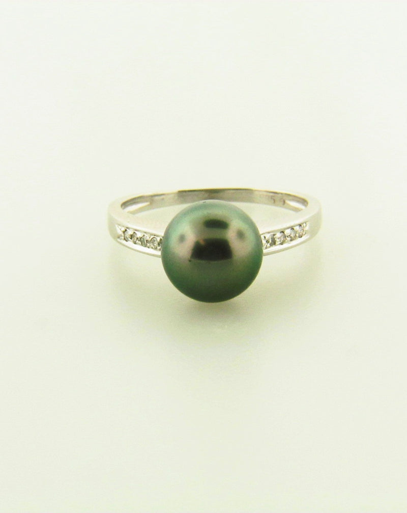 14K White Gold Black Tahitian Pearl Ring | 18 Karat Appraisers | Beverly Hills, CA | Fine Jewelry