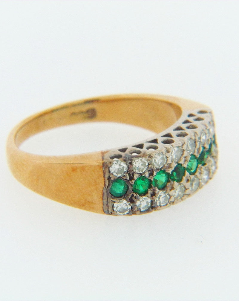 18K GOLD DIAMOND AND EMERALD RING | 18 Karat Appraisers | Beverly Hills, CA | Fine Jewelry