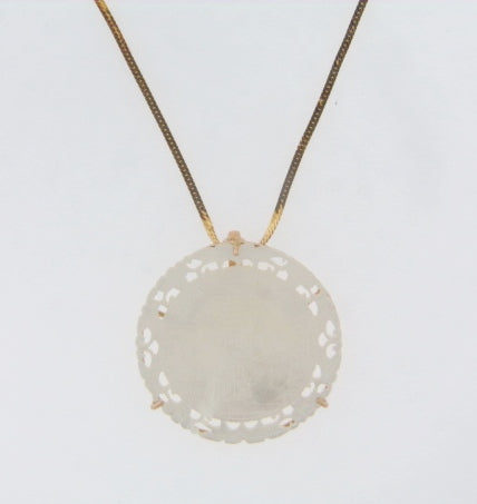 14K-YG CARVED MOTHER OF PEARL PENDANT | 18 Karat Appraisers | Beverly Hills, CA | Fine Jewelry