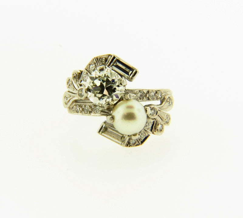 Platinum Diamond and Pearl Ring | 18 Karat Appraisers | Beverly Hills, CA | Fine Jewelry