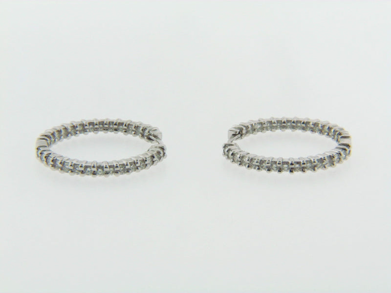 "18K White Gold Diamond Hoop Earrings by ""Robert Coin"" 