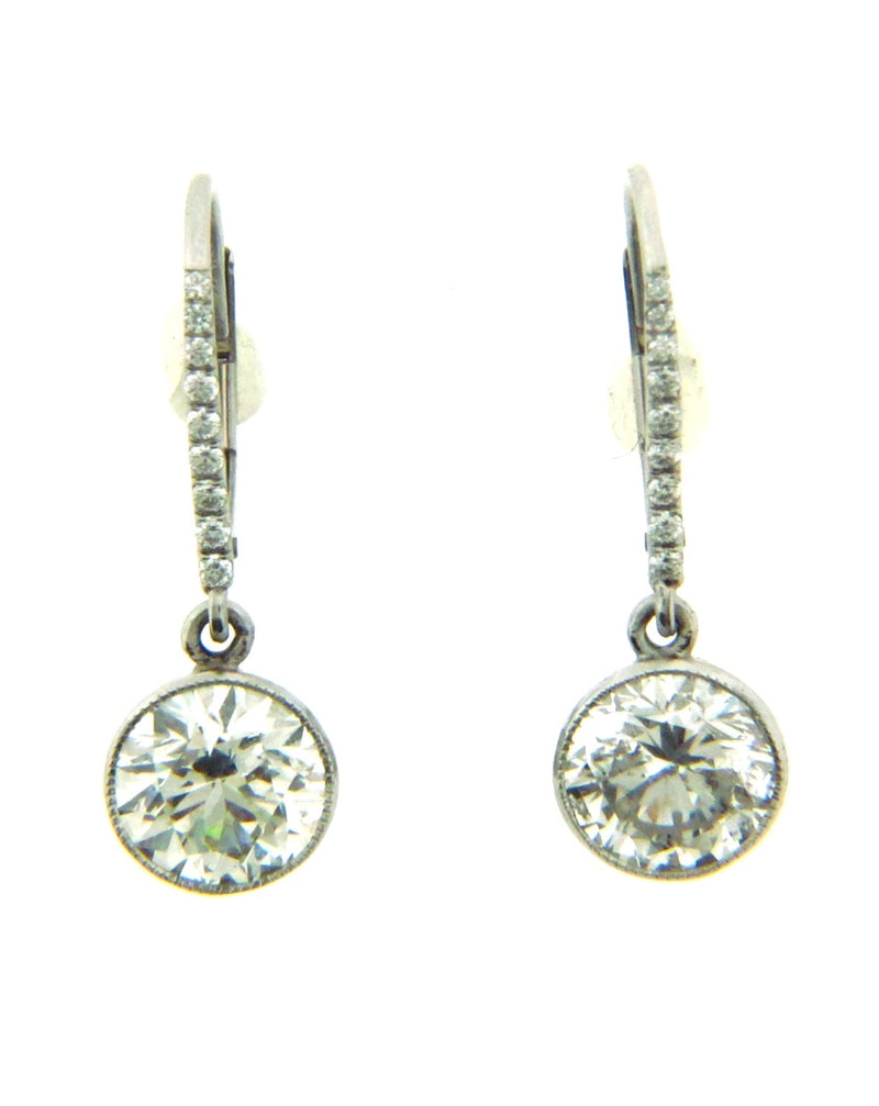 Platinum and 14K White Gold Diamond Dangling Earrings