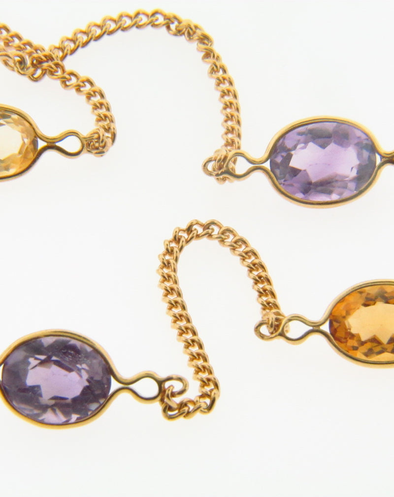 18K Yellow Gold Citrine and Amethyst Necklace | 18 Karat Appraisers | Beverly Hills, CA | Fine Jewelry