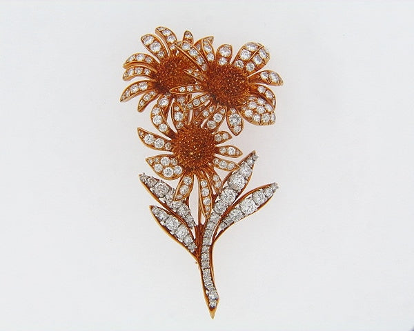 18K-YG AND PLATINUM FLORAL SUNBURST DIAMOND BROOCH