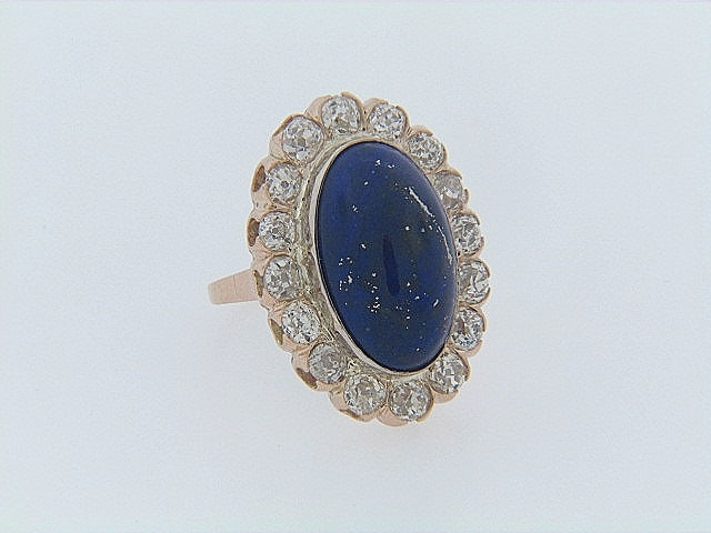 14K-WG LAPIS LAZULI AND DIAMOND RING | 18 Karat Appraisers | Beverly Hills, CA | Fine Jewelry
