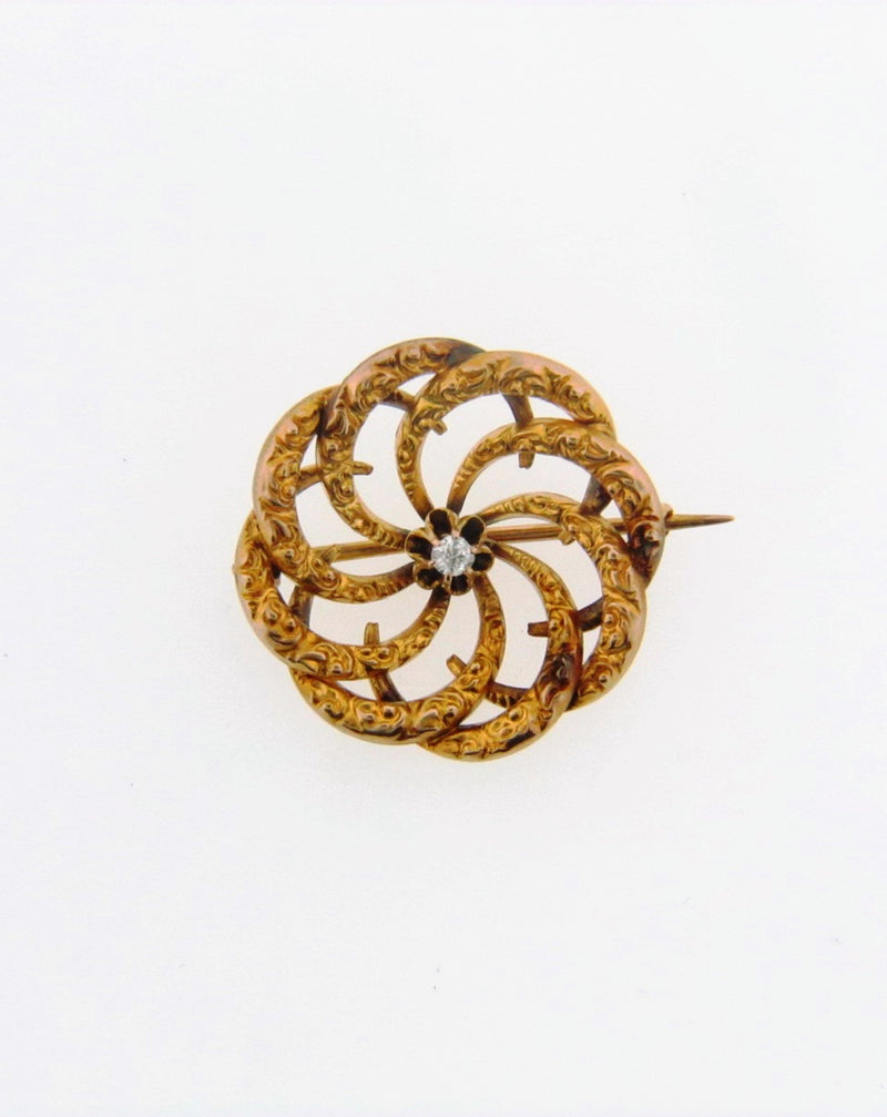 Victorian 18K Yellow Gold Swirl Motif Diamond Pin | 18 Karat Appraisers | Beverly Hills, CA | Fine Jewelry