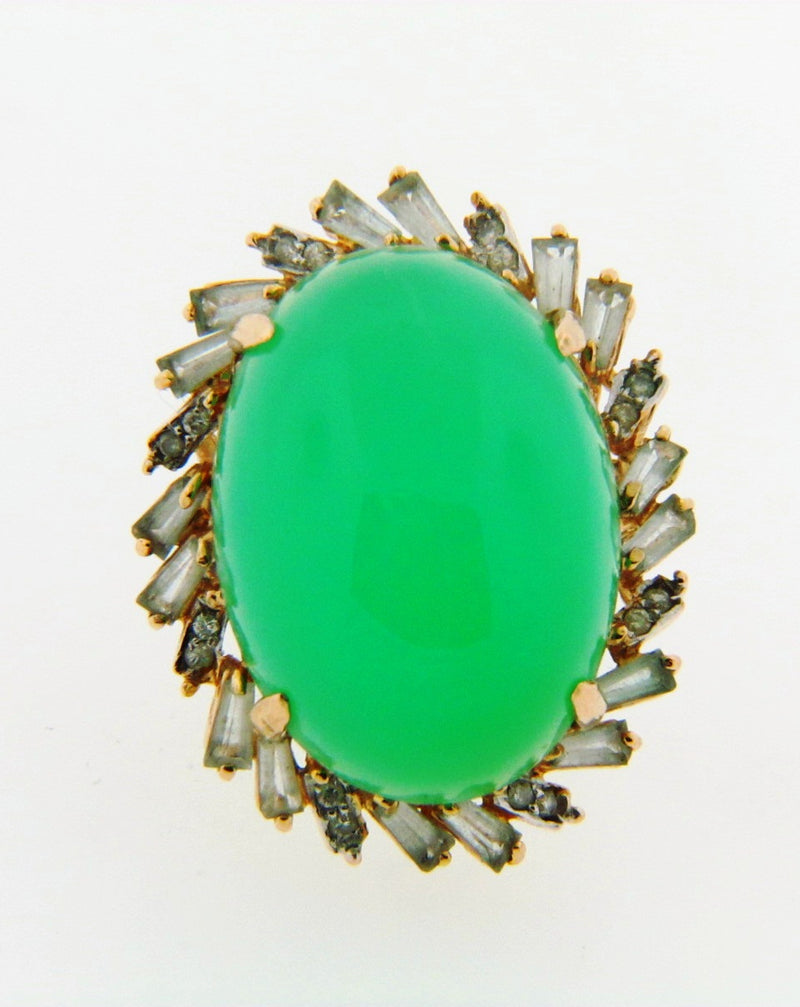 14K-YG Green Chrysoprase-Chalcedony and Diamond Ring | 18 Karat Appraisers | Beverly Hills, CA | Fine Jewelry