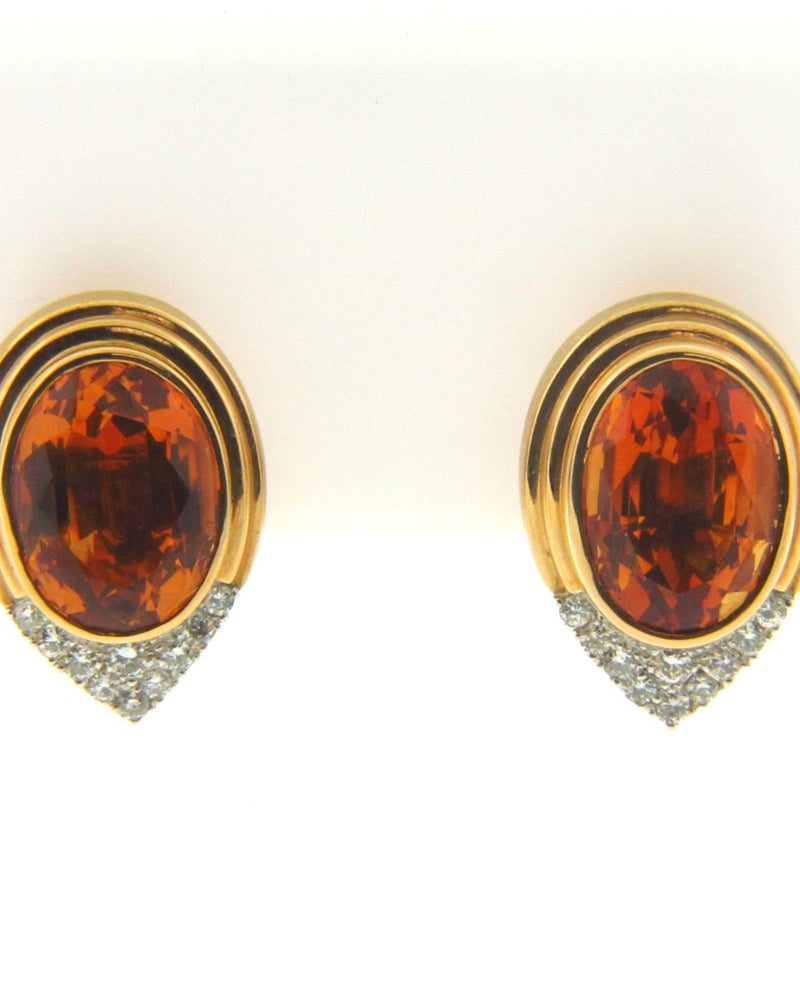 18K Yellow Gold Citrine and Diamond Earclips | 18 Karat Appraisers | Beverly Hills, CA | Fine Jewelry