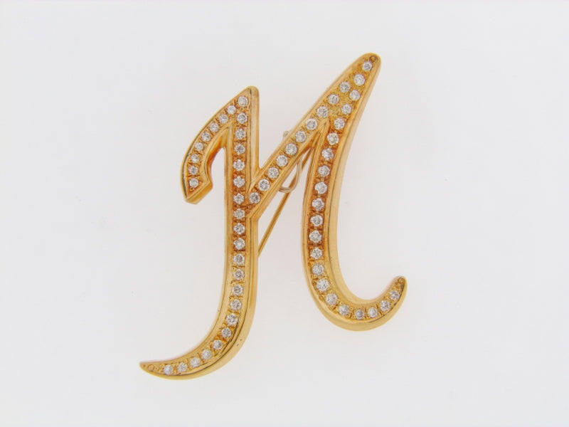 18K-YG DIAMOND PAVE BROOCH