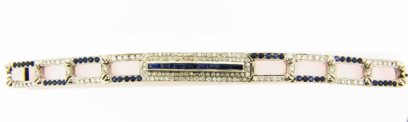 14K White Gold, Diamond and Sapphire Bracelet | 18 Karat Appraisers | Beverly Hills, CA | Fine Jewelry