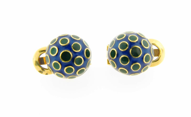 18K Yellow Gold, Enamel Button Earrings | 18 Karat Appraisers | Beverly Hills, CA | Fine Jewelry