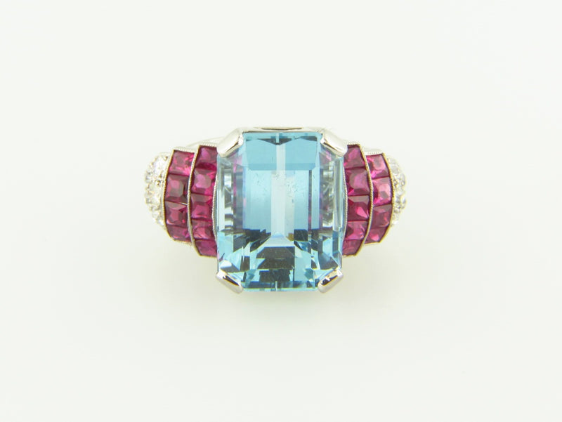 Retro Platinum, Aquamarine, Ruby, and Diamond Ring | 18 Karat Appraisers | Beverly Hills, CA | Fine Jewelry
