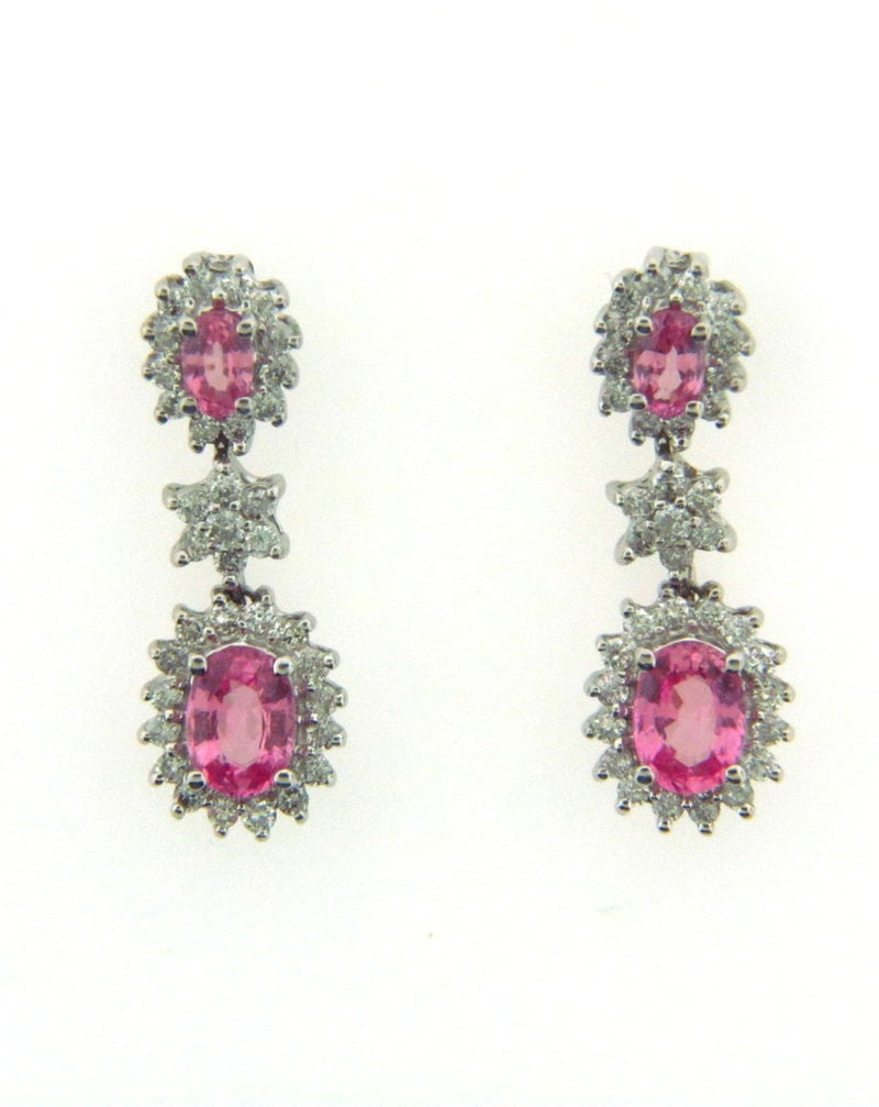 18K-WG Pink Sapphire and Diamond Dangling Earrings