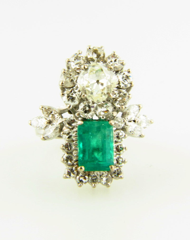 14K White Gold, Emerald and Diamond Ring | 18 Karat Appraisers | Beverly Hills, CA | Fine Jewelry