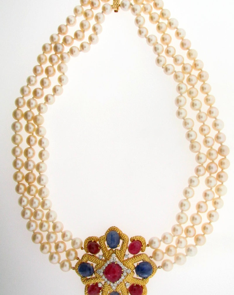 18K-YG RUBY, SAPPHIRE, DIAMOND, AND PEARL NECKLACE | 18 Karat Appraisers | Beverly Hills, CA | Fine Jewelry