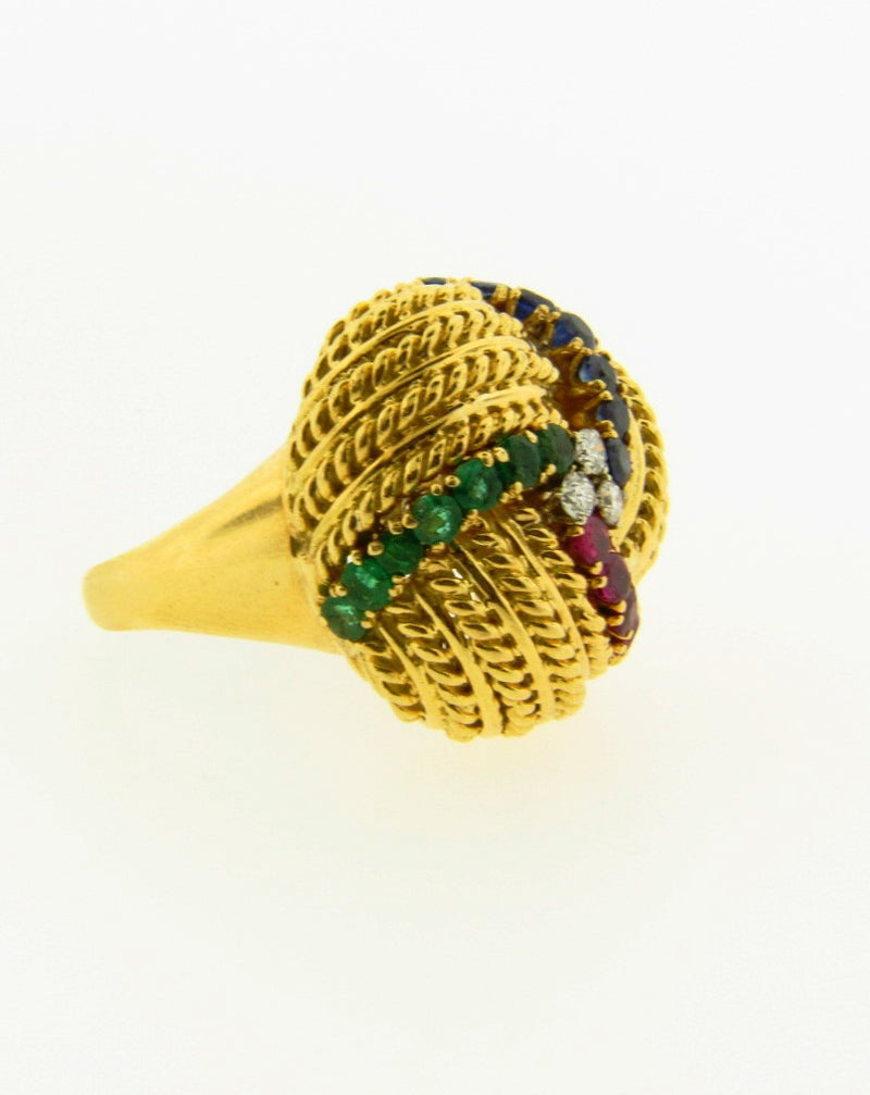 18K-YG DIAMOND AND MULTI-GEMSTONE DOME RING