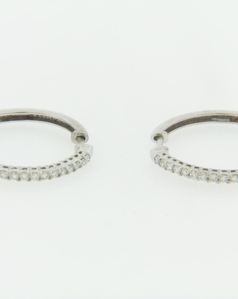 18K WHITE GOLD DIAMOND HOOP EARRINGS | 18 Karat Appraisers | Beverly Hills, CA | Fine Jewelry