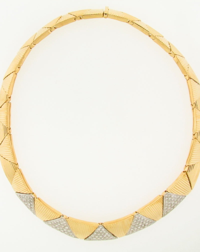 18K YELLOW GOLD DIAMOND COLLAR NECKLACE | 18 Karat Appraisers | Beverly Hills, CA | Fine Jewelry