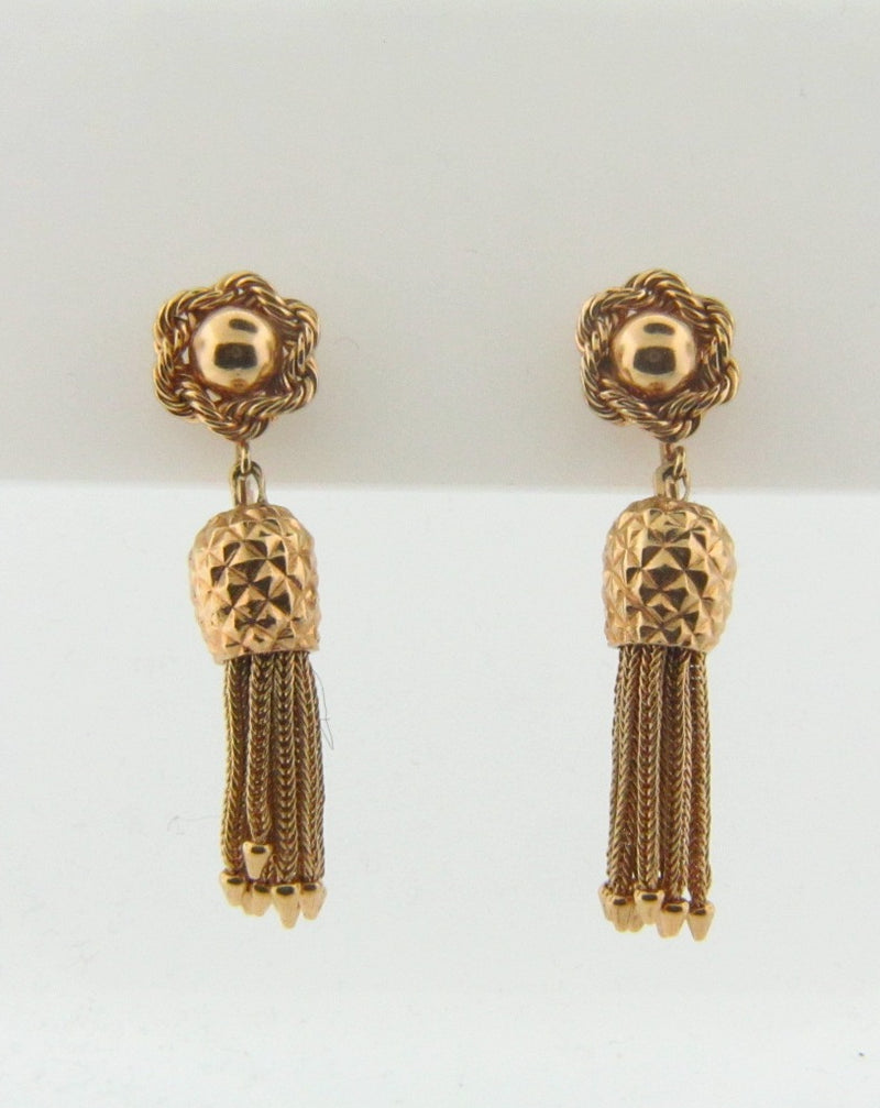 14K Yellow Gold Dangling Tassle Earrings | 18 Karat Appraisers | Beverly Hills, CA | Fine Jewelry