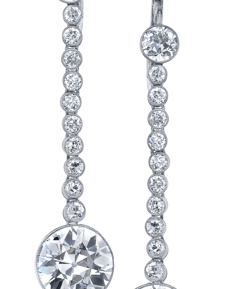 Art Deco, Platinum Diamond Dangling Earrings