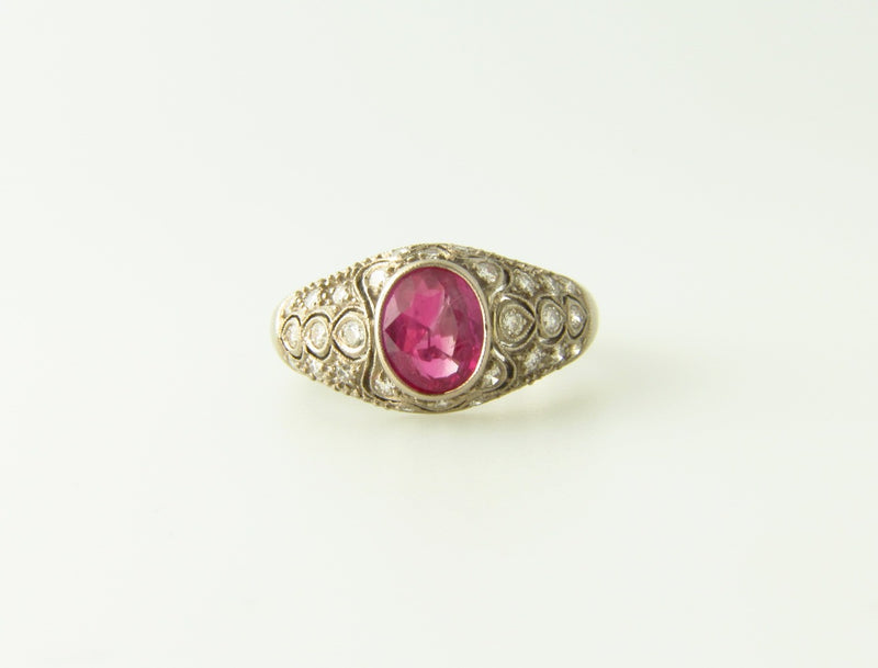 Art Deco, 18K White Gold Ruby and Diamond Ring