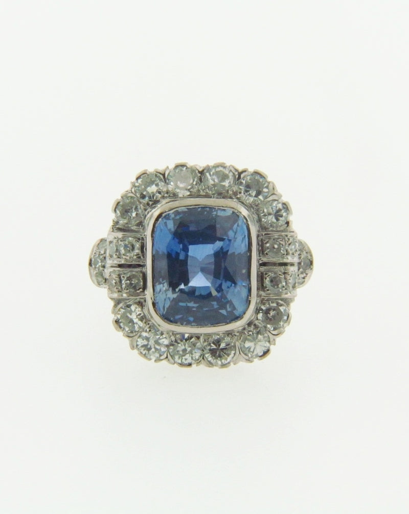 18K WHITE GOLD SAPPHIRE AND DIAMOND RING | 18 Karat Appraisers | Beverly Hills, CA | Fine Jewelry