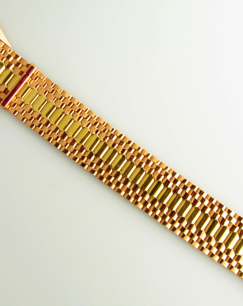 Retro 18K Rose and Yellow Gold, Buckle Bracelet | 18 Karat Appraisers | Beverly Hills, CA | Fine Jewelry