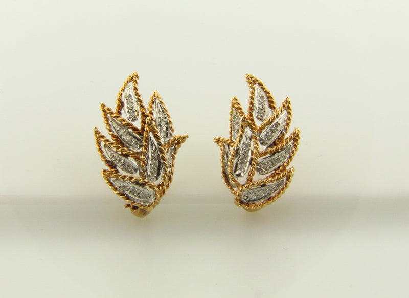 14K White and Yellow Gold, Diamond Earrings | 18 Karat Appraisers | Beverly Hills, CA | Fine Jewelry