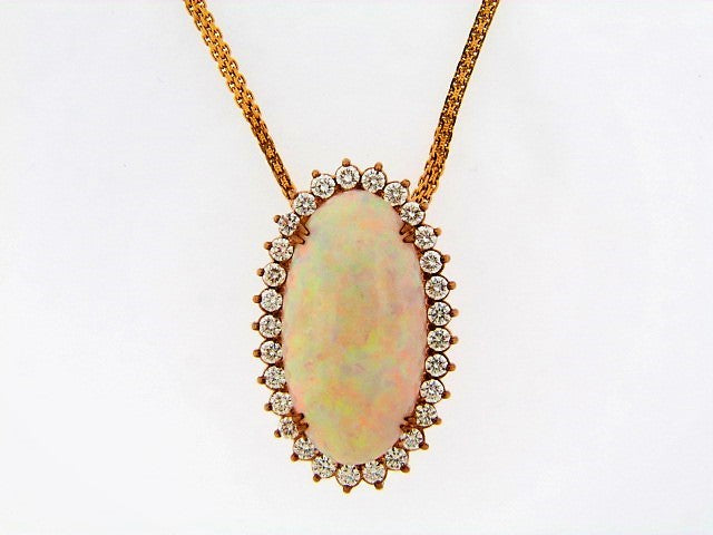 14K-YG WHITE OPAL AND DIAMOND PENDANT | 18 Karat Appraisers | Beverly Hills, CA | Fine Jewelry