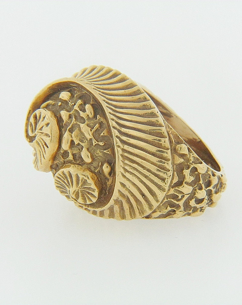 18K YELLOW GOLD SHELL DESIGN RING | 18 Karat Appraisers | Beverly Hills, CA | Fine Jewelry