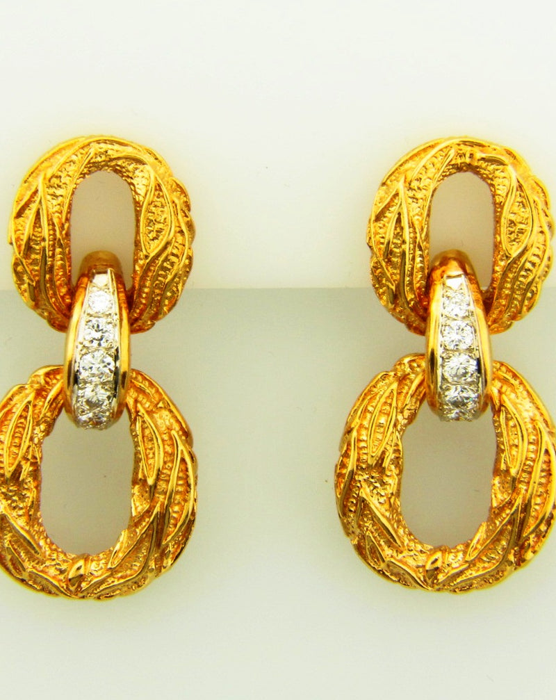 18K Yellow Gold, Diamond Door Knocker Earrings | 18 Karat Appraisers | Beverly Hills, CA | Fine Jewelry