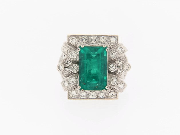 PLATINUM VINTAGE EMERALD AND DIAMOND RING | 18 Karat Appraisers | Beverly Hills, CA | Fine Jewelry