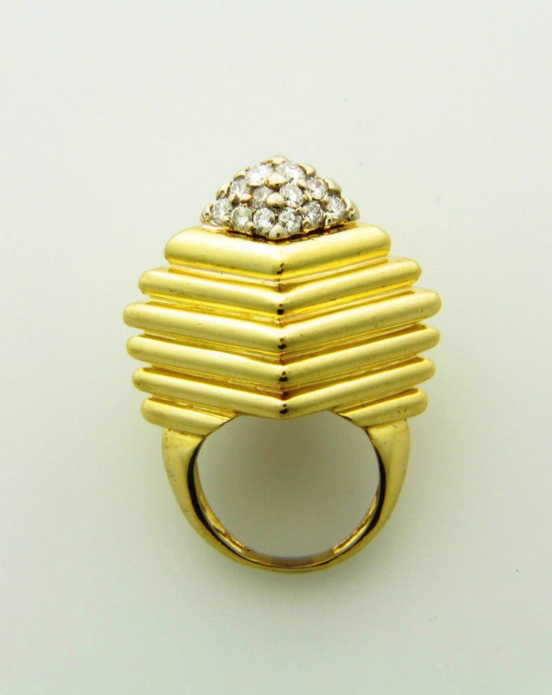 18K Yellow Gold, Diamond Dome Ring | 18 Karat Appraisers | Beverly Hills, CA | Fine Jewelry