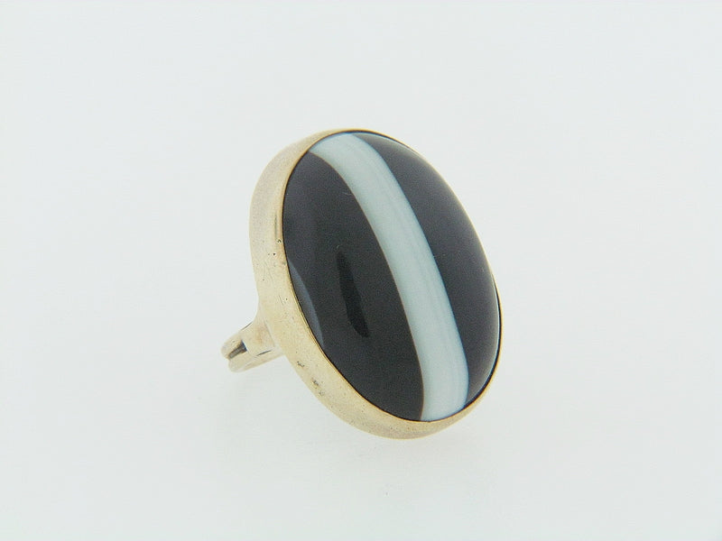 15K YELLOW GOLD BANDED AGATE RING | 18 Karat Appraisers | Beverly Hills, CA | Fine Jewelry