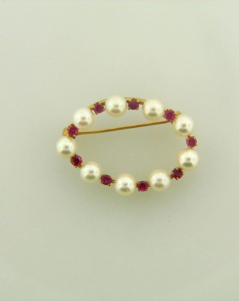 14K Rose Gold Pearl and Rubies Brooch/Pin | 18 Karat Appraisers | Beverly Hills, CA | Fine Jewelry