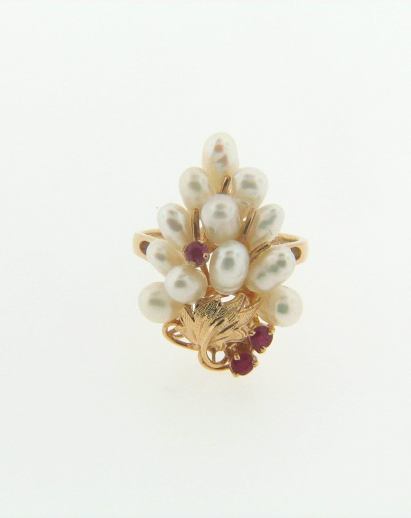 Retro, 14K Yellow Gold Pearl and Ruby Ring | 18 Karat Appraisers | Beverly Hills, CA | Fine Jewelry